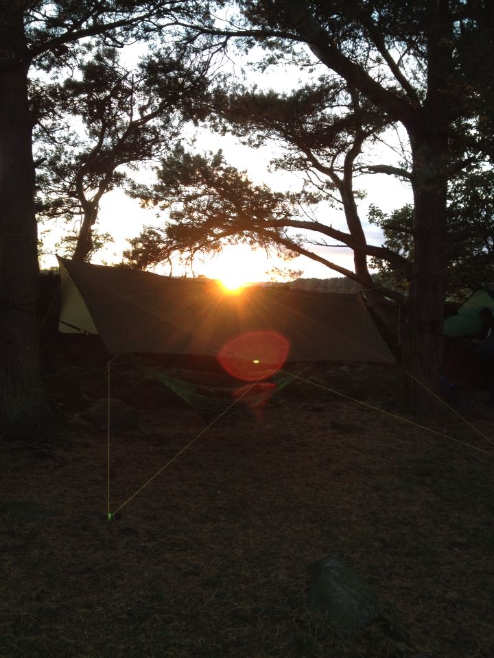 Great picture with the sun setting behind the tarp