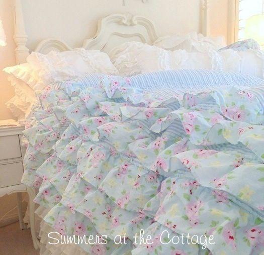 Summers cottage ruffled bedding shabby chic pinterest - Habitaciones shabby chic ...