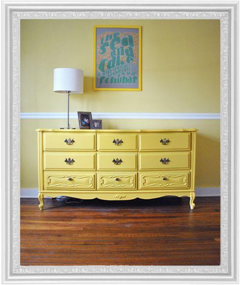 refinished yellow dresser