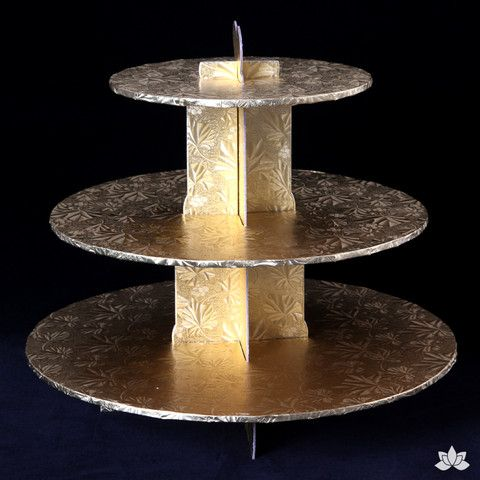 Beautifully display your amazing cupcakes with this disposable 3 tier Cupcake Stand. Nicely pre-covered in a greaseproof embossed foil finish makes it very classy & reusable. Very easy to assemble and