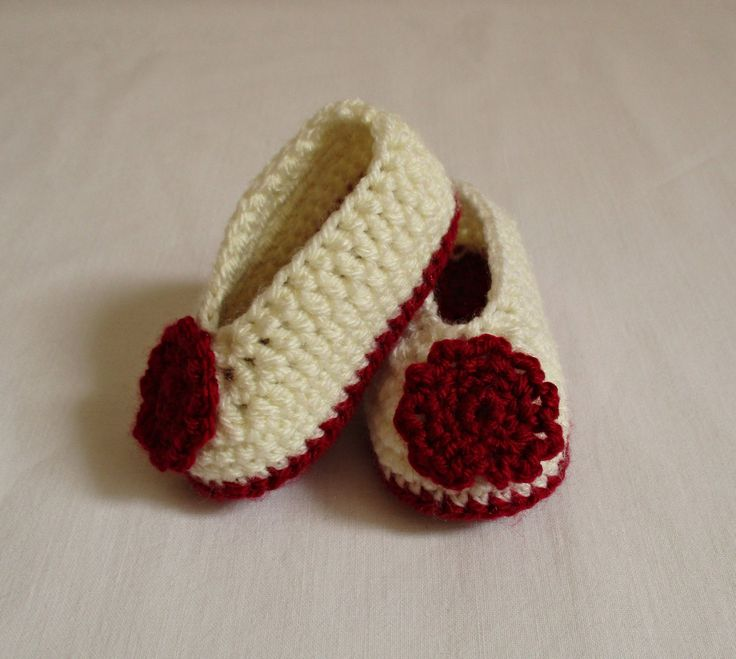 Cream and Claret Crochet Baby Girl Booties by ZsuzsaBoutique on Etsy