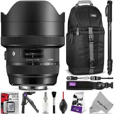 Sigma 12-24mm f/4 DG HSM Art Wide Angle Lens for NIkon F with Accessories Bundle