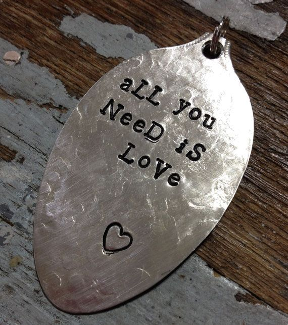 All you need is #love | STaMPeD ViNTaGe uPCyCLeD SpooN JeWeLRy by JuLieSJuNQueTiQue, $10.00