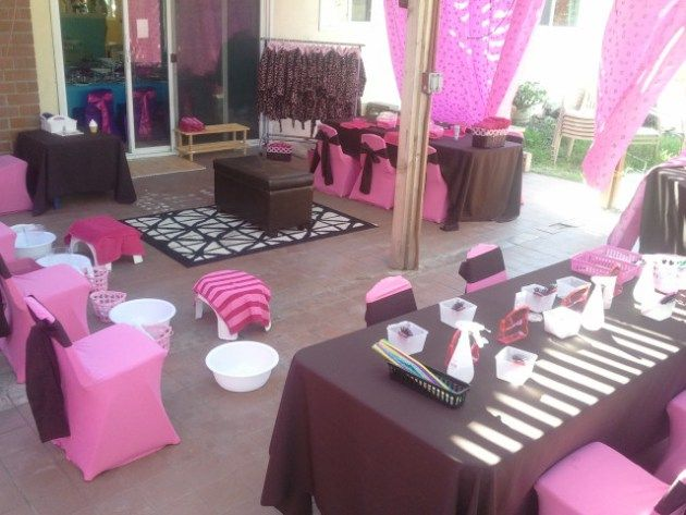 Spa Party Ideas For Girls | Spa Party Set up with Pedicure, manicure, hair and make up stations.