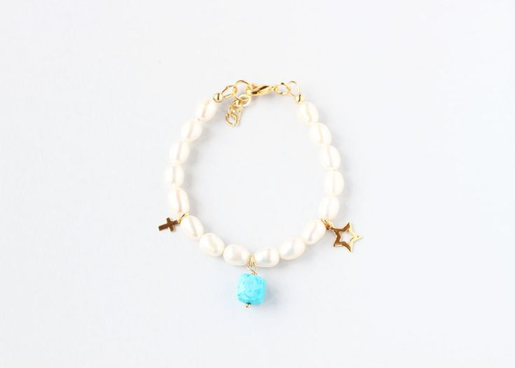 December Birthstone First Communion Bracelet, Pearl Communion Bracelet, First Communion Keepsake, Girl Communion Jewelry, Keepsake Gift Kid by ILgemstones on Etsy