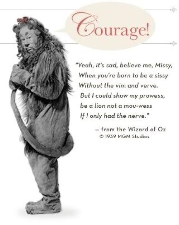 """""""If I Only Had the Nerve..."""", the Cowardly Lion from 'The Wizard of Oz'."""