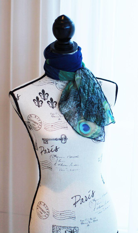 Photography meets Fabric! Pure Silk Chiffon Peacock Scarf by CHOBHI