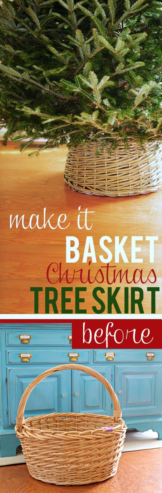 Thrifty Christmas decorating idea. How to make a basket Christmas Tree Skirt using a big basket. | In My Own Style blog