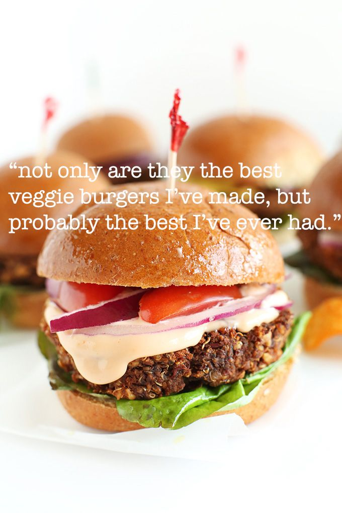 7 Ingredient Veggie Burgers! V+GF. One commenter says they're the best she's ever MADE or EATEN! Go check them out!