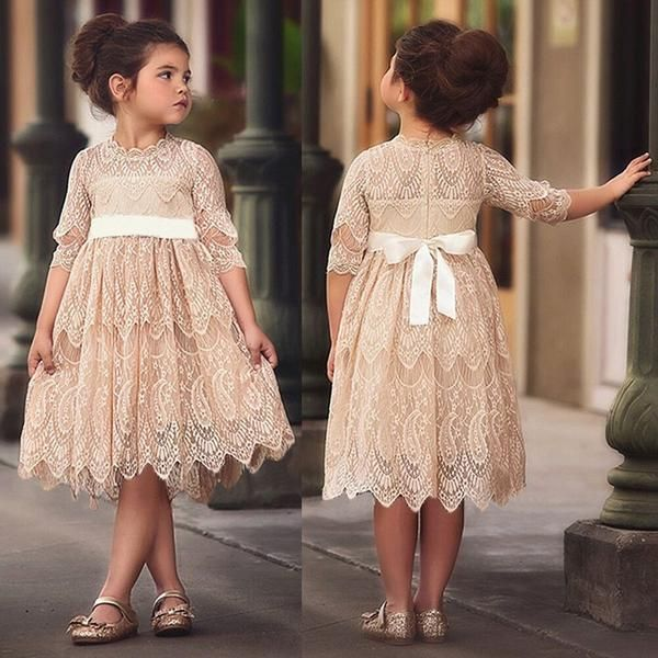 A-line Full Lace Half Sleeves Flower Girl Dresses With Bow, FG0127 A-line Full Lace Half Sleeves Flower Girl Dresses With Bow, FG0127