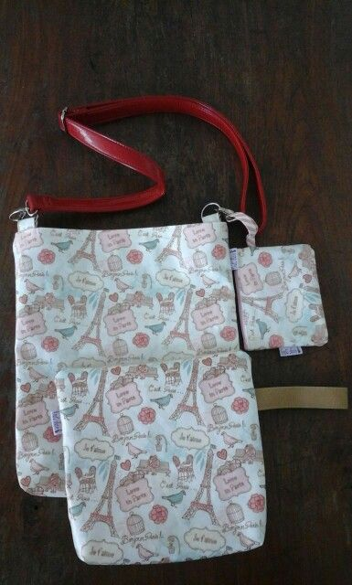 Sling bag, cosmetic pouch and coin pouch from laminated canvas.