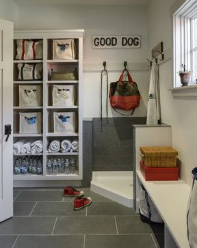 Wash up station for dirty dogs and children! No room for a mudroom, but maybe a corner of the garage?