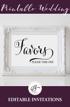 Printable wedding favors sign. This one is not editable and reads Favors, please take one
