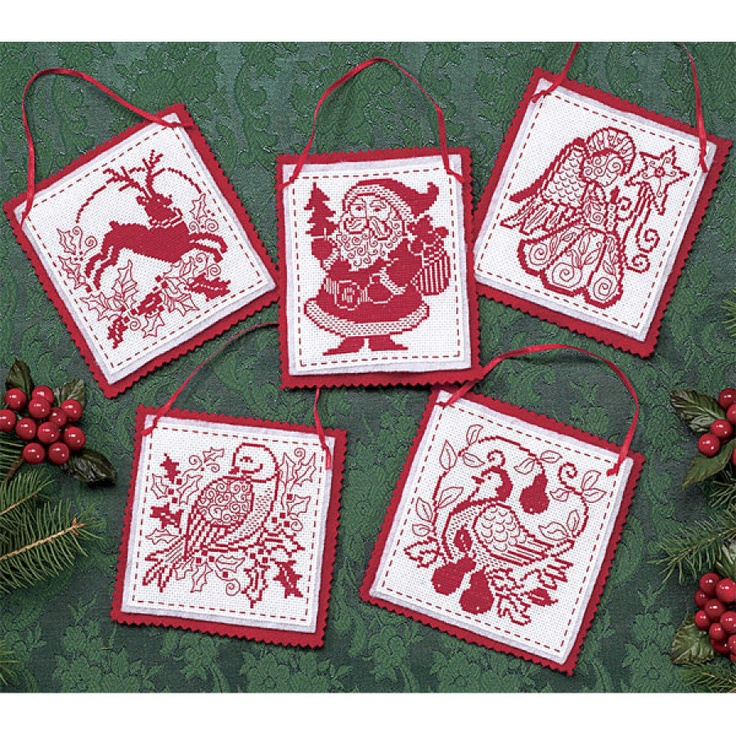 redwork ornaments