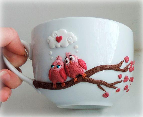 Cute pink birds - personalized mugs - custom mug - polymer clay mug - original decorated mug - ceramic cup - unique design mug
