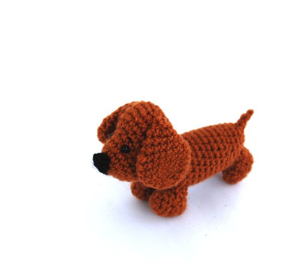 Dachshund dog, rust dog puppy, crochet pet animal, quiet play toy, soft toy, soft dachshund, funny gift, funny amigurumi, sweet toy for kids