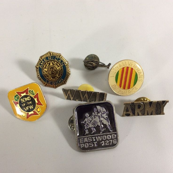 Legion Pins Military USA Veterans Lot 18  - Set of 7 Pins Vietnam Eastwood VFW