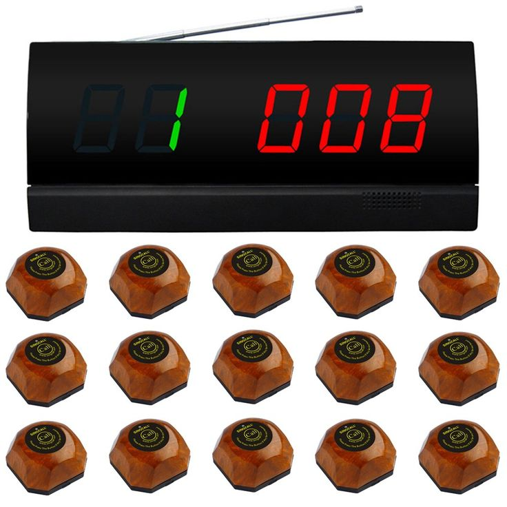 SINGCALL Wireless Service Calling System for Cinema,Table Paging System,Pack of 15 pcs Brown Bells and 1 pc Black Monitor. APE2000: 01.Display a groups of three-digit. Can speech broadcast operation, with voice reporting function. 02.Each pager can set different chord music. Twelve beautiful chord music 03.With a 999 call extension,it can be displayed in English or figures. 04.The display time length of the call number can be set arbitrarily. Length of call sound can be selected…