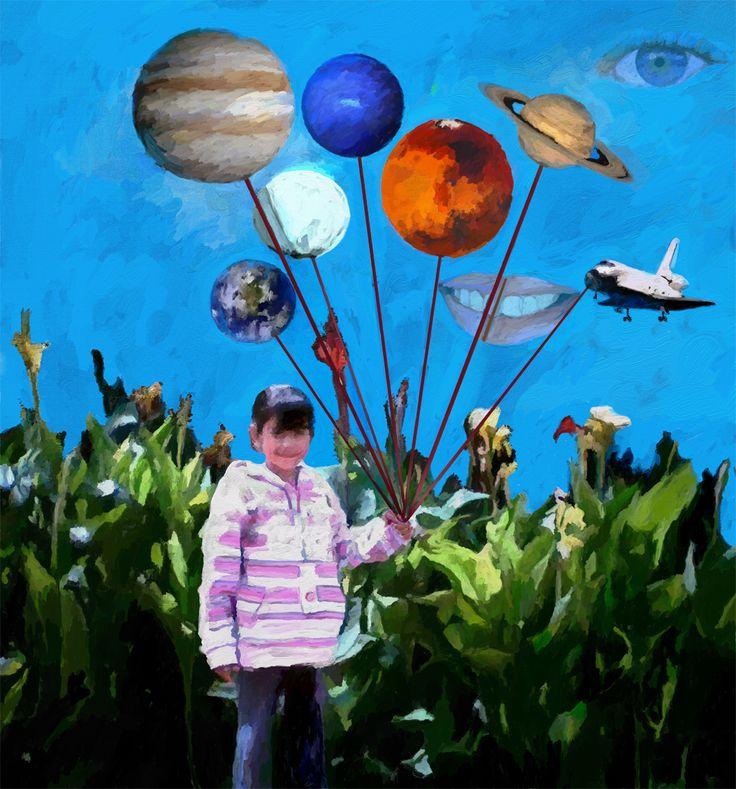 Surrealism-La petite Anne joue dans la cour avec les planètes