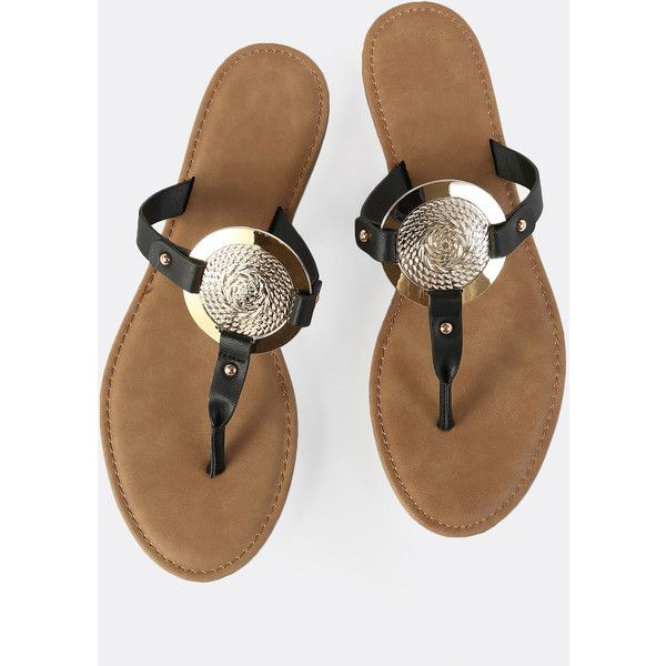 SheIn(sheinside) Gold Disc Thong Sandals BLACK ($18) ❤ liked on Polyvore featuring shoes, sandals, flip flops, black, gold thong sandals, black sandals, black shoes, bamboo flip flops and low heel sandals