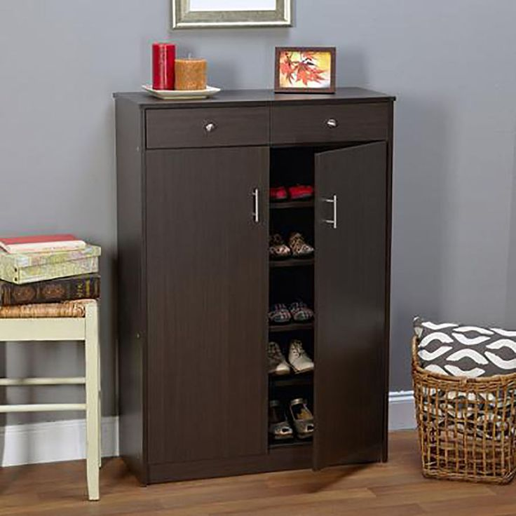 20 Pair Shoe Rack Storage Cabinet 5 Shelf 2 Dresser Drawers Doors Entryway