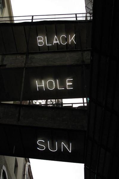 'Black Hole Sun' neon, 2010 by artist Riccardo Previdi - Fondazione Pastificio Cerere, Rome