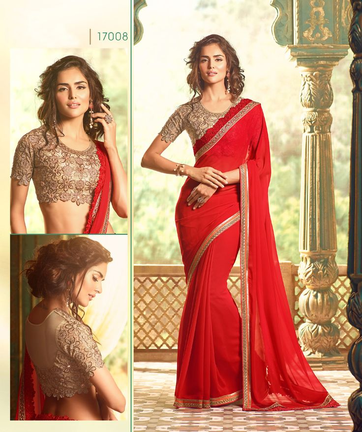 Red Color Fancy Designer Wedding Georgette Saree with Designer Blouse. Buy Now :- https://goo.gl/Lz0HlV COD & Free Shipping available in india.