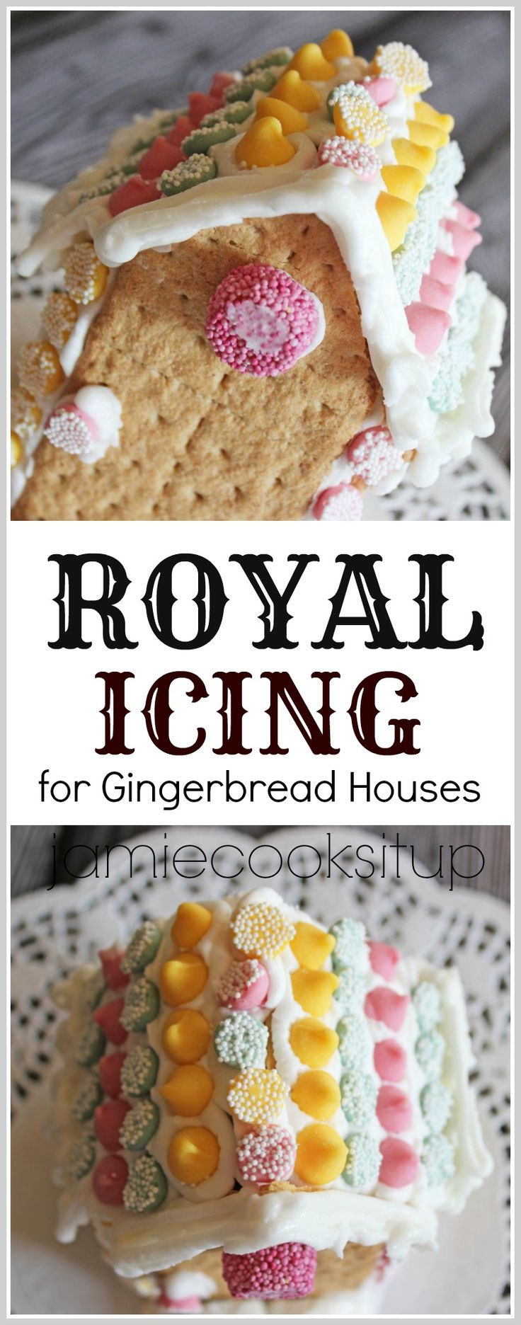 Royal icing for gingerbread houses -egg whites, icing sugar, cream of tartar