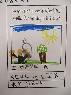 Writing prompts. Do you have a special object like Knuffle Bunny? Why is it special? & Which Mo Willems book is your favorite, and why?