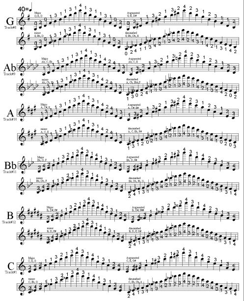 all scales for violin | These are the fingerings for major, augmented, minor, and diminished ...