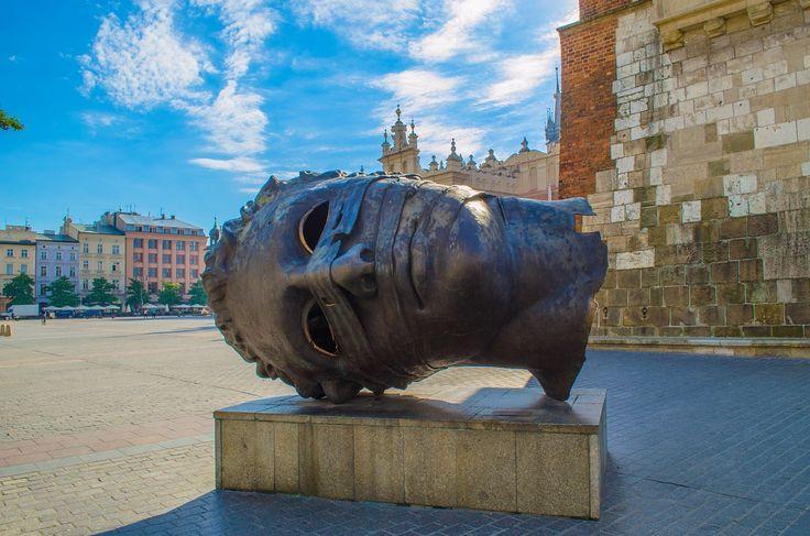 Kraków, Polska, Europa, Rzeźba, Głowa, Brąz, Turystyka