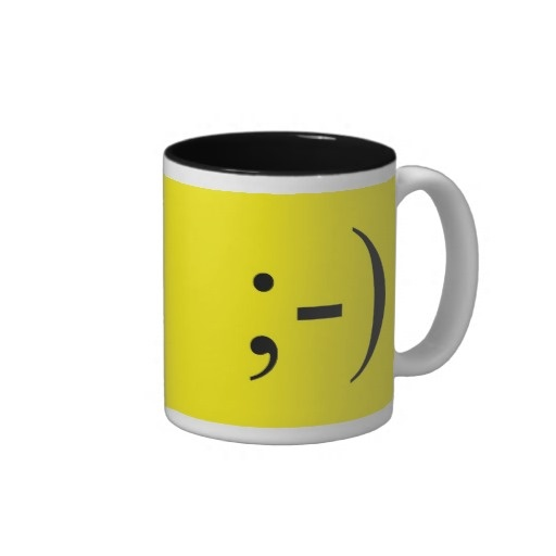 Wink Emoticon Two Tone Coffee Mug from Text Me