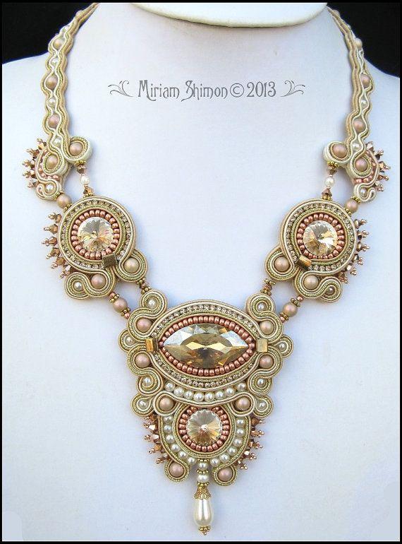 Caramel Cream Soutache Swarovski necklace by MiriamShimon on Etsy