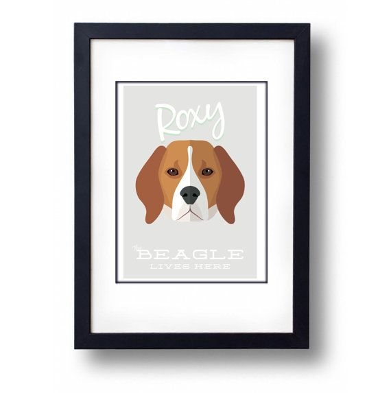Personalised Beagle Print A3 Print by mammothcreativeworks on Etsy