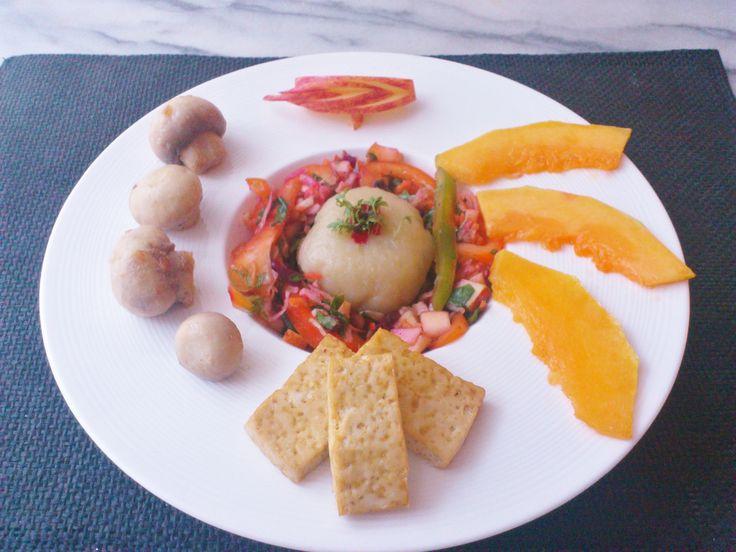 Homemade veggie, apple, mix nuts salad w/ kudzu potato ball & pumpkin fried tofu mushroom! #vegan #organic #glutenfree #healthyeating #nutrition #food