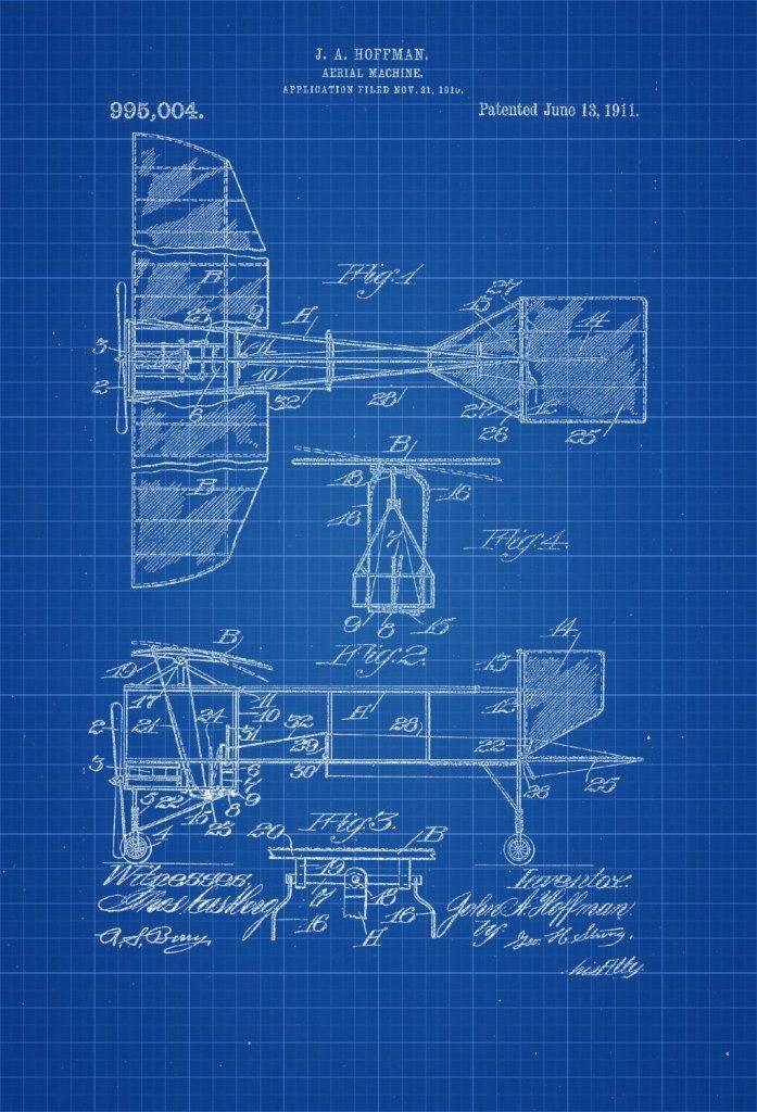 1911 Aerial Machine Patent Print Vintage Airplane Airplane Blueprint Airplane Art Pilot Gift Aircraft Decor Airplane Poster Vintage Airplanes Airplane Poster Patent Prints