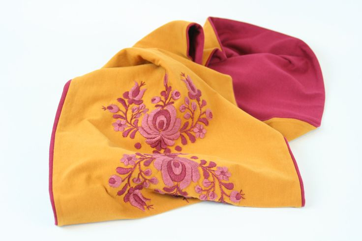 READY TO SHIP - Woman infinity scarf - circle scarf - loop scarf -  hand embroidered - matyo embroidery - mustard yellow burgundy by MatyoKid on Etsy