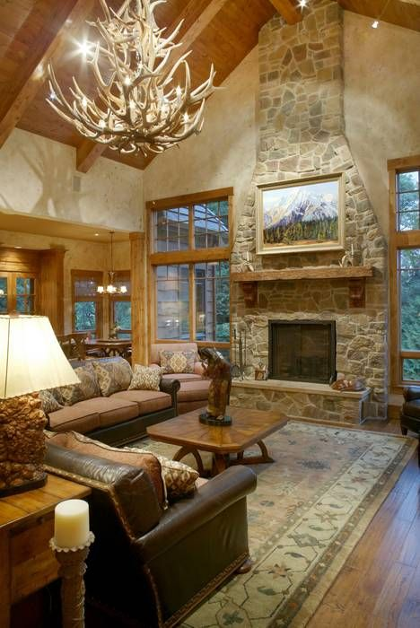Stone Fireplace Reflects Lodge Style - House Plan 1411 -The Tasseler