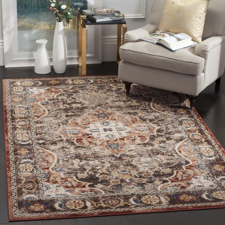 """BIJ648D Rug from Bijar collection.  The fine artistry and craftsmanship of Kurdish rug makers is recreated in the Bijar Collection, also known as """"the iron rugs of Persia."""" Traditionally styled but with an modern sense of vogue colors and high-touch texture. Large Persian motifs call attention to the brilliant, earth-tone hues and vibrant blue highlights that fill the soft, ornate pile. The ideal floor coverings to accentuate living room or dining room decor."""