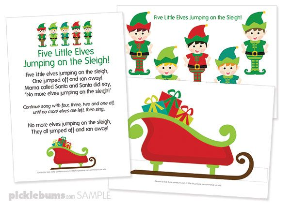 Five Little Elves Christmas Song - Free Printable Puppets | eyfs | Preschool christmas songs ...