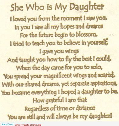 Inspiration From Mother to Daughter   My Daughter, In you I saw all my hopes and dreams in my daughter