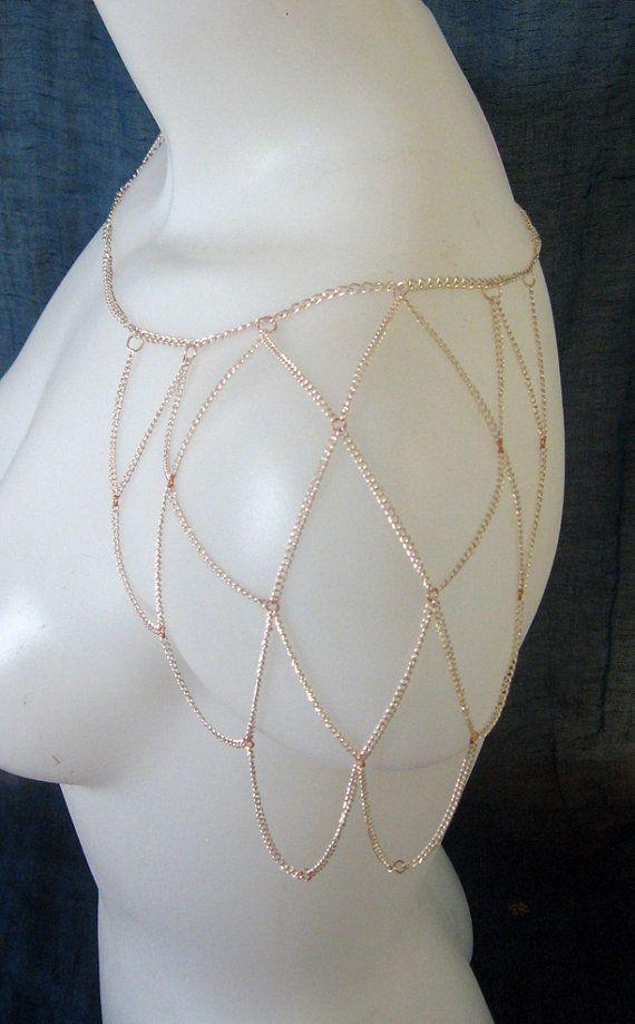 Bright Copper Shoulder Necklace Women's Accessory Body Chain Jewelry Scallop High Fashion Fantasy Costume LARP Boho on Etsy, $55.76 CAD