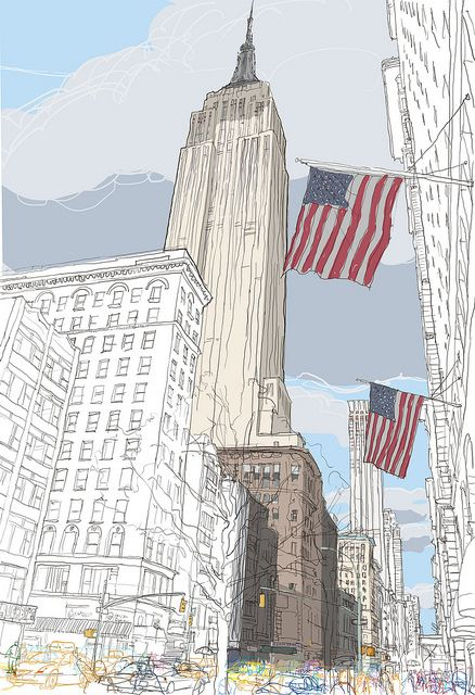 The Empire state building-Flags_100x70cm-print by Rupert.vanwyk, via Flickr