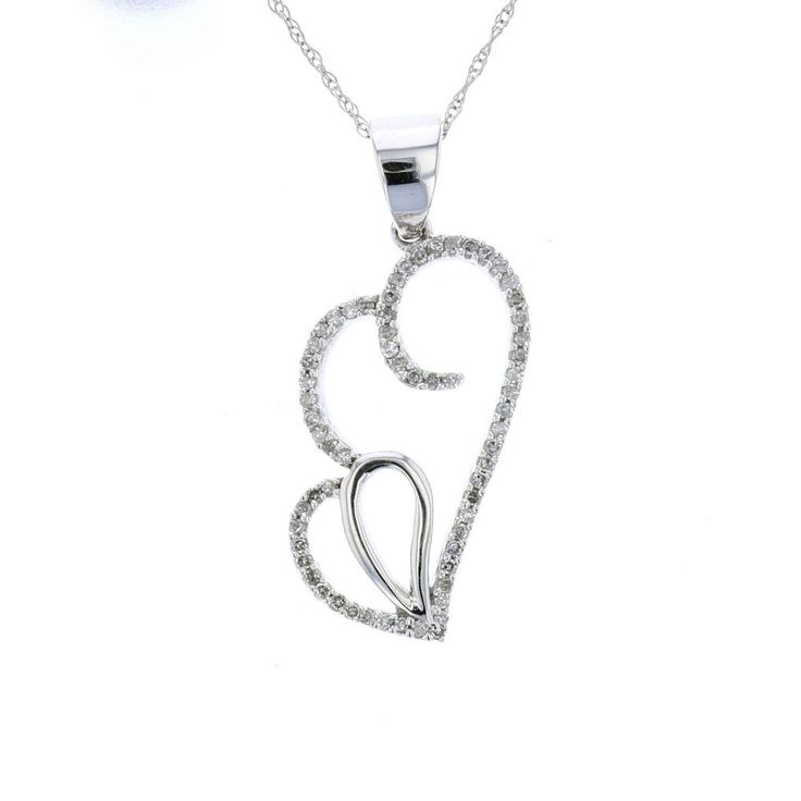 14k White Gold Diamond Double Heart Necklace #Pendant #ebay #valentinesday #diamondhearts #heartsjewelry #diamondjewelry #womansfashion #luxuryjewelry #diamondpendants