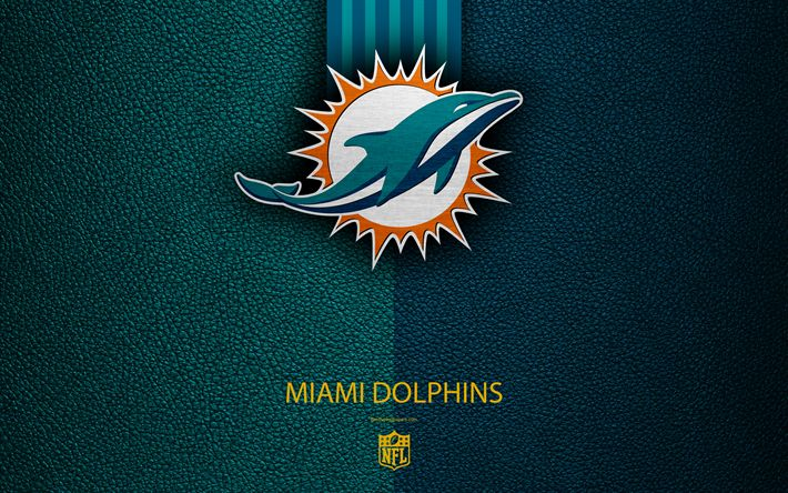 Download wallpapers Miami Dolphins, 4k, american football, logo, leather texture, Miami, Florida, USA, emblem, NFL, National Football League, Eastern Division