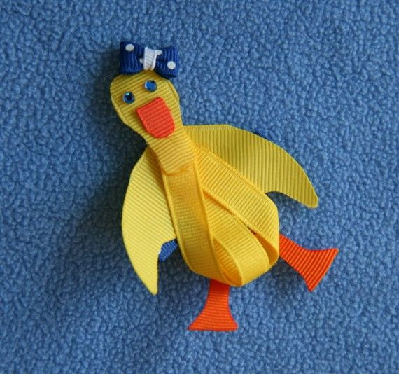 Yellow Duck Ribbon Sculpture Hair Clip by CelticTideCreations, $4.75 This looks easy enough to make!