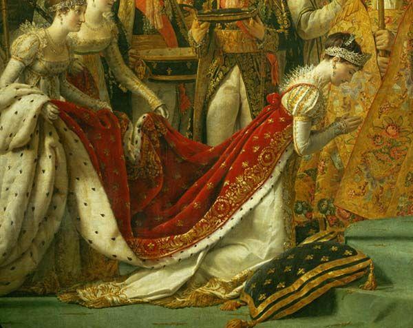 """Jacques-Louis DAVID  Paris, 1748 - Bruxelles, 1825    Sacre de l'empereur Napoléon Ier et couronnement de l'impératrice Joséphine dans la cathédrale Notre-Dame de Paris, le 2 décembre 1804   1806 - 1807   H. : 6,21 m. ; L. : 9,79 m.    """"Aussi beau que Rubens !'', disait Géricault parlant du Sacre.  Cette page immense procède en effet du Couronnement de Marie de Médicis de Rubens (Louvre, galerie Médicis). Mais ici, l'animation baroque fait place à un parti pris de rythmes verticaux qui…"""