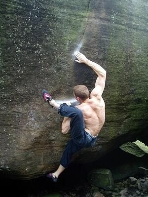 Brad Pitt (7C+) requires flexibility, power, balance and friction... a classic Peak District gritstone climb.