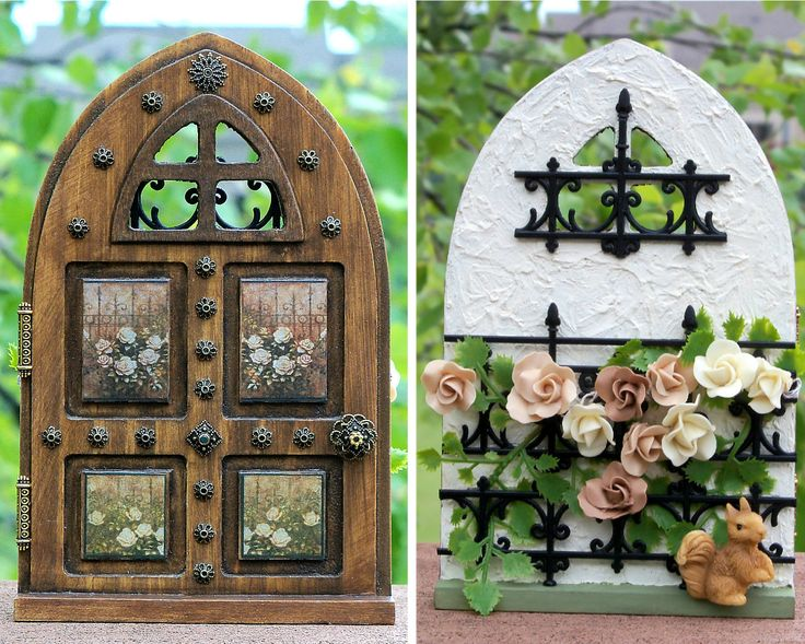 Fairy rose garden door, Front wood stained decoupage panels brass accents, Back stucco wall, rose vine on wrought iron fence, baby squirrel by 4MsHeartsDesire on Etsy