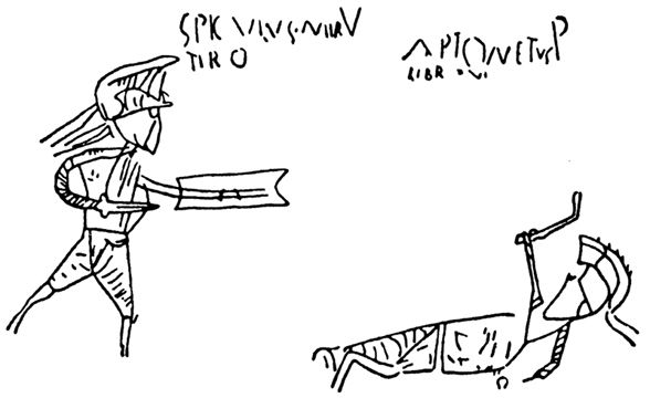 Graffiti: gladiator scene